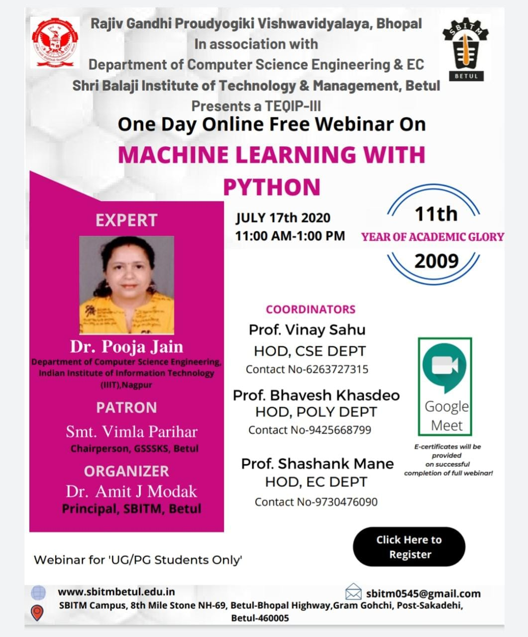 "One Day Online Webinar on  ""Machine Learning with Python"""