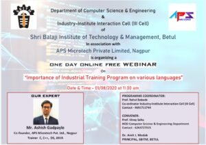 "WEBINAR on ""Importance of Industrial Training Program on Various Languages."""